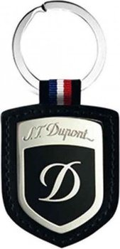 S.T. Dupont Key-Ring Shield -Stainless Steel, Leather And Black Lacquer  3050